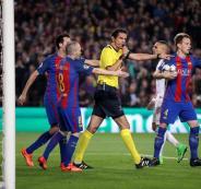 حكم مباراة برشلونة وباريس سان جيرمان