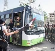 خروج مسلحين من حرستا في الغوطة الشرقية