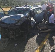 مصرع مواطن وإصابة 6 بينهم 4 بحال الخطر بتصادم مركبتين على طريق رام الله نابلس