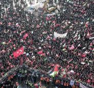 رغم الأمطار والرياح العاتية.. مئات الآلاف من الأتراك يتظاهرون نصرة للقدس
