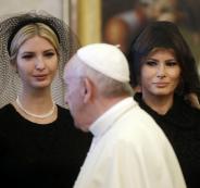 زوجة ترامب وابنته يغطيان رأسيهما امام البابا