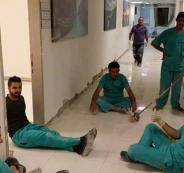ممرضون في مستشفى جامعة النجاح يعيدون تبليط وترميم قسم غسل الكلى خلال 24 ساعة