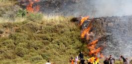 مستوطنون يحرقون اراضي في نابلس