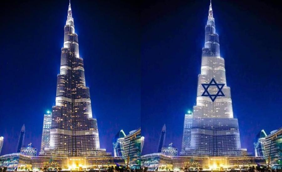 اضاءة برج خليفة بعلم اسرائيل