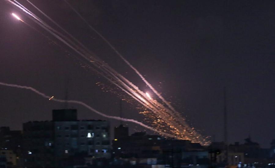 اطلاق الصواريخ من غزة نحو حيفا